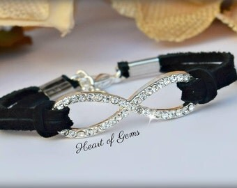 Rhinestone Infinity Suede Friendship Bracelet/BFF/Gifts