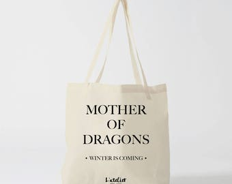 X478Y tote bag the girl with dragon, the girl with the dragon, game of thrones, cotton bag, tote bag, khaleesi dragon, mother of dragons