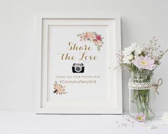 Printable wedding photo sign, Wedding instagram sign, Hashtag wedding sign, Boho social media sign printable, The Mia collection