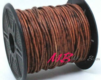 1mm Spool of Distressed Red Brown Indian Leather, 5 Yard Spool of Genuine Leather, 15 feet Round Leather for Jewelry Making