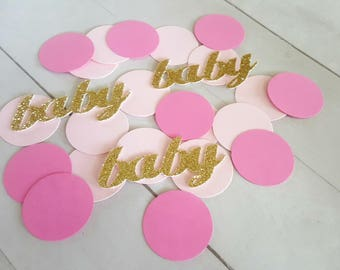 Baby Shower Decorations, Baby Shower Confetti, Baby Confetti, Pink and Gold Baby Shower, Pink and Gold Baby Sprinkle, Girl Baby Table Decor