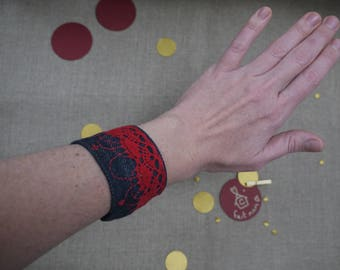 Dark Denim Cuff Bracelet with lace, embroidery, seed beads and leather inserts color rougecadeau Christmas
