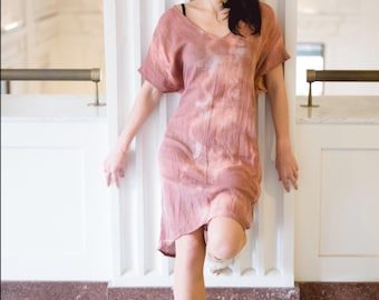 Shift dress  in lightweight organic cotton gauze in rosewood by Simmer Clothing .Great for beachwear, cruisewear and coverup.