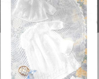 Beautiful original Patons knitting pattern for a shawl, dress, matinee coat, bonnet, bootees, to fit 0-9 mths - 4 ply wool