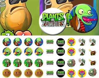 Plants and Zombies -  1/2 inch or 12 mm Images 4x6 Digital Collage INSTANT DOWNLOAD