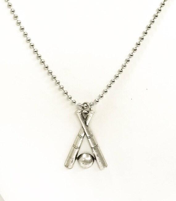 Baseball Necklace, Crossed Baseball Bat Necklace, Baseball Necklace For Men, Baseball Player Gift, Baseball Fan Gift, Baseball Team Gifts