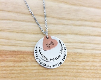 Baby stats necklace - new mom necklace new baby jewelry - push present Mother's Day gift for mom -baby shower gift - hand stamped jewelry