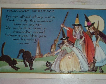 Three Witches With Black Cats and Brooms Antique Halloween Postcard, UNUSED, Whitney Made