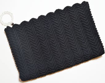 Vintage 1940s Black Woven Corde Zip Top Clear Lucite Pull Large Clutch Bag