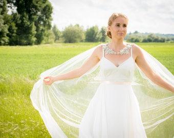 Crystal Cape Veil - Crystal Bridal Cape - Bridal Cape Veil - Bridal Cape - Tulle Bridal Cape - Bridal Cover Up