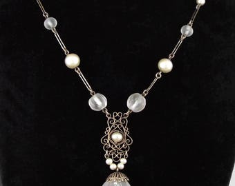 1910s Art Nouveau / Deco Filigree Camphor Glass Pendant / Necklace w/ Faux Pearls