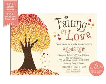 Falling in Love Bridal Shower Invitation - Fall Bridal Shower Invite - Baby Shower Invitation - Printable - LR1017BR Orange