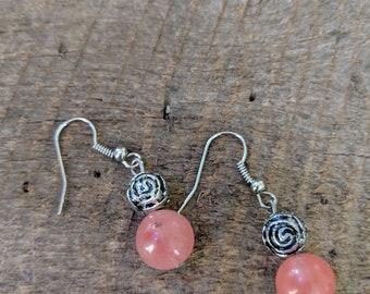 Rose glass bead dangle earrings