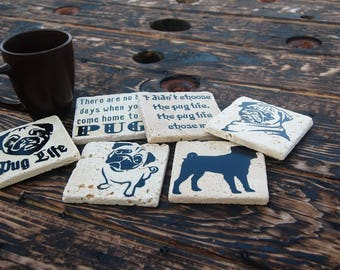 Pug Life Coasters, Pug Gift, Coasters with Dogs, Pug Home Decor, Black Pug, Pug Art, Coaster Set, Housewarming Gift, Funny Coasters