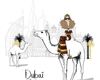 Paperccino Studio's #TheCitySeries Dubai Fashion Illustration, a ready-to-frame art print by Paperccino Studio