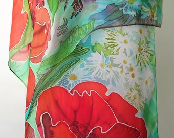 Batik silk scarf Long scarf  Poppies scarf Summer flowers scarf Hand painted silk scarf Floral Handpainted scarves Woman accessory