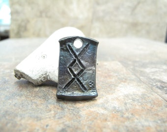 Inguz viking celtic rune pendant - blacksmith forged wrought iron, steel, gift idea