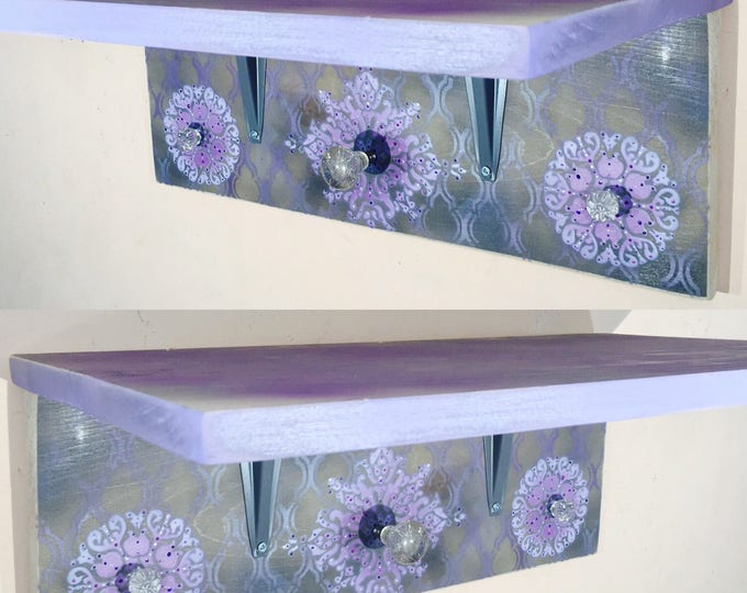 Bookshelves floating shelves pallet wood book shelf /reclaimed wood art home decor wall organizer accent shelving stenciled mandalas 3 knobs