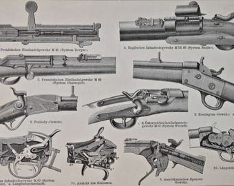 Revolver print. Handgun. Weapons print. 1901. Old book plate. 116 years lithograph.  9'6 x6'2 inches.