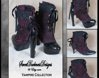 Gothic Spats Victorian Spats Steampunk Spats Vampire Clothing Laceup Shoecover Vintage Spat Burgundy