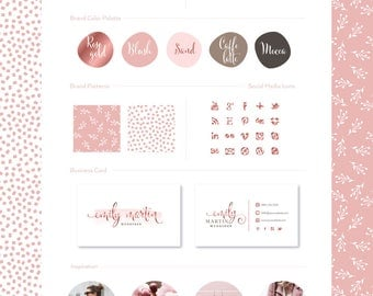 Premade Branding Kit, Photography Weddings Logo Set Watermark, Handwritten initials, Rose Gold Signature / Logo Design Stamp monogram 21