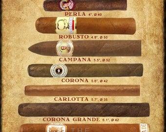 Cigar Art, Cigar Size Chart - Cigar Poster - Tobacco Print - Man Cave Wall Art Home Decor Fathers Day #vi174