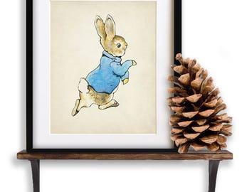 Beatrix Potter Print - Peter Rabbit, Beatrix Potter Art, Childrens Books Art, Nursery Art, Rabbit Print #vi860