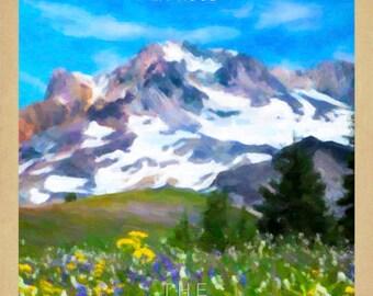 Oregon Poster, Mt Hood Print Oregon Art Mt Hood Poster Flower Art, Pacific Northwest Oregon Decor Wall Art #vi888