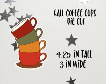 Fall Coffee Cups Stack Die Cut | Fall Coffee | Coffee Cups Die Cut | Planner decoration | Planner Die Cuts |  |TN | Travelers Notebook