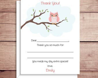 Fill-in Thank You Notes - Owl Flat Notes - Childrens Thank You Cards- Illustrated Note Cards