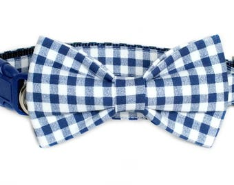 Royal Gingham fabric bow tie ONLY for dog/cat collars, pet bow tie, collar bow tie, wedding bow tie