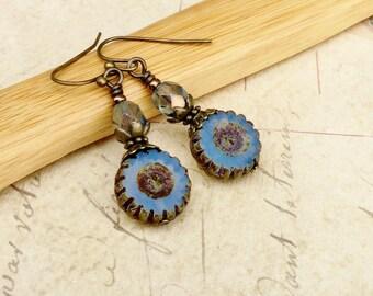 Blue Earrings, Aqua Earrings,Blue Dangle Earrings, Antique Gold Earrings, Czech Glass Beads, Bronze Earrings, Unique Earrings, Gifts for Her