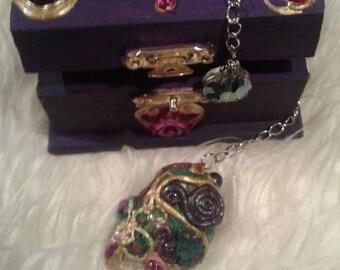 Crystlal Quartz Pendulum, Polymer Clay, QUARTZ Pendulum, Witch's Pendulum Divining Tool Matching Box, Dowsing Pendulum, Wiccan Pagan Occult