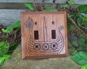 Viking Long Ship Dual Light Switch Plate Cover - Heathen Lightswitch Plate - Viking Home Decor - Wood burned