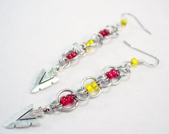 Kansas City Chiefs Charm Chainmaille Earrings  Arrow Head Earrings  Charm Earrings Red and Yellow Earrings Football Earrings Team Earrings