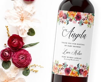 Hostess Gift Wine Labels Labels - Fall Bridal Shower Hostess Gift - Baby Shower Thank You Gift - Host Gift - Custom Thank You Gift