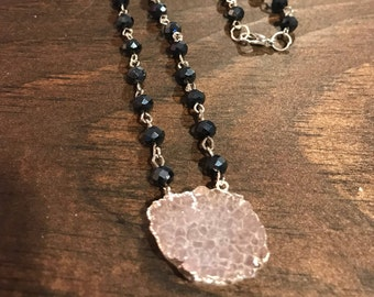 Navy and pink druzy necklace