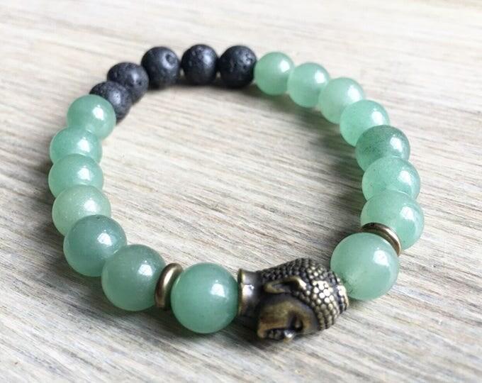Green Aventurine Lava Bracelet, Buddha Bracelet, Essential Oil, Aromatherapy, Yoga Bracelet, Meditation, Chakra Healing, Stretch Cord