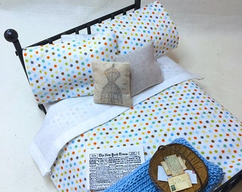 Miniature Dollhouse Duvet Bedding Set - Earth Colored Dots - Queen/Double