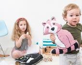 Pink Nursery Pillow, Plush Raccoon, Woodland Animal Cushion, Screen printed Cushion, Children's Room Decor, Limited Edition