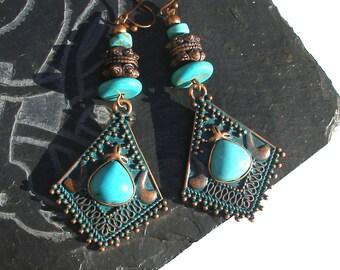 Boucles d'oreilles bohèmes cuivre turquoise retro boho ethno chic rustique ethnique ooak primitif urbain tendance