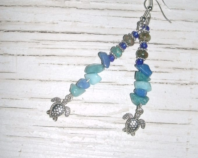 Sea Turtle Earrings, Blue Beaded long dangle earrings, boho, silver sea turtle charms, various blues mix, quartz crystal, Chrysocolla, plus