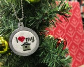 Instant Pot Christmas tree ornament, stocking stuffer or housewarming gift cross stitched by Canadian Stitchery