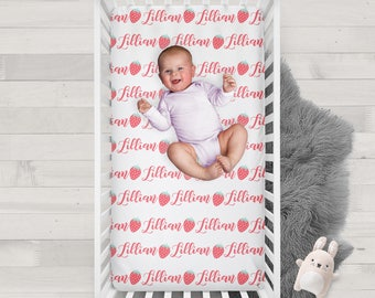 Personalized Crib Sheet Strawberries - Design your own crib sheet - Made by moms in USA
