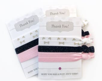 Kitty Cat Party Favors - Kitten Birthday Party Supplies - Goodie Bags - Kitty Party Decorations -  Kitten Baby Shower Favors Hair Ties