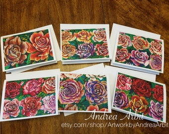 Rose Drawing Art Prints - 30 Days Set - Pack of 6 Blank A2 Notecards
