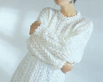 Knitting Pattern PDF Womens Lacy Knit Tunic Sweater  28 - 48 Double Knit