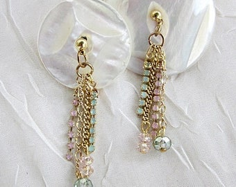 Multi-Chains Earrings, Chain Dangles, Gold Chains Earrings, Crystals w Chains Earrings, Rhinestone and Chains Dangles, Unique Chain Earrings