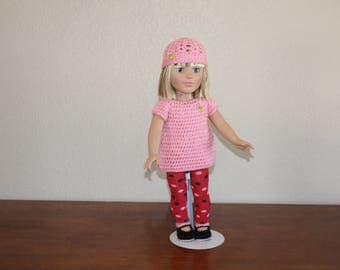 """AG pink sweater, leggings, shoes, hat, undies, AG doll clothes, 18"""" doll clothes, doll leggings, 18 inch doll sweater, AG shoes"""