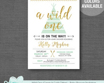 Wild One Green and Gold Glitter Baby Shower Invitation Printable, Baby Shower Invite, Boy, Gender Neutral, Gender Reveal, Tribal, Teepee,11W